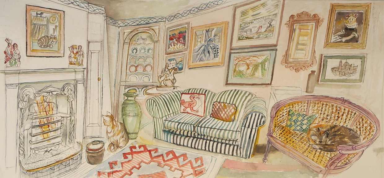 Richard Bawden RWS RE, Cats and Pictures, watercolour